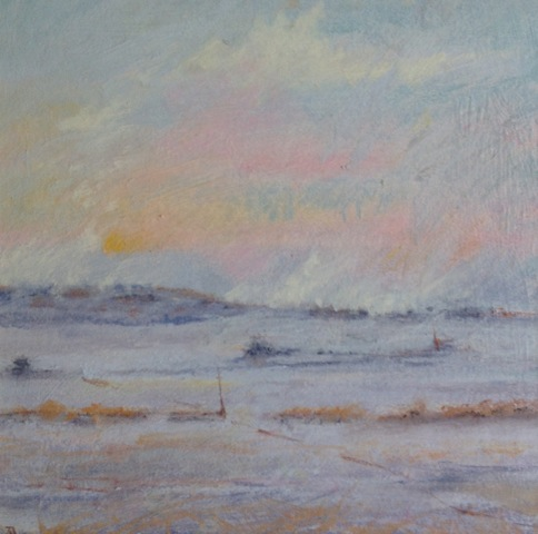 'Above the Mist' Landscape Pastel on Board 30cmx30cm