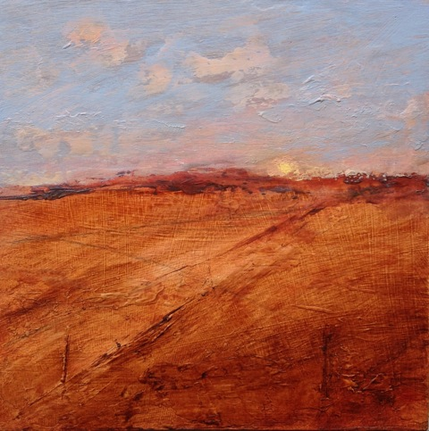 'Looking Back' Landscape Acrylic on Board 16cmx16cm