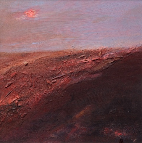 'Red Earth' Landscape Acrylic on Board & Mixed Media 15cmx15cm
