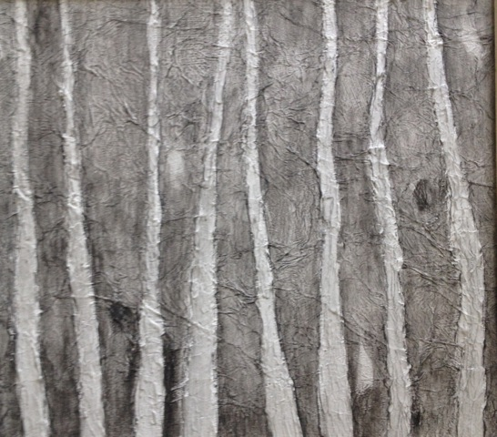 'Sentinels' Landscape Acrylic and Carbon Pencil 21cmx25cm